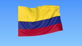 Waving flag of Colombia, seamless loop. Exact size, blue background. Part of all countries set. 4K ProRes with alpha. Flapping flag of Colombia, blue background stock footage