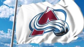 Waving flag with Colorado Avalanche NHL hockey team logo. 4K editorial clip. Waving flag with Colorado Avalanche NHL hockey team logo. 4K editorial animation vector illustration
