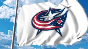 Waving flag with Columbus Blue Jackets NHL hockey team logo. 4K editorial clip. Waving flag with Columbus Blue Jackets NHL hockey team logo. 4K editorial royalty free illustration