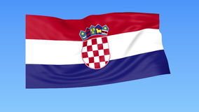 Waving flag of Croatia, seamless loop. Exact size, blue background. Part of all countries set. 4K ProRes with alpha. Flapping flag of Croatia, blue background vector illustration