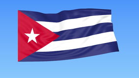 Waving flag of Cuba, seamless loop. Exact size, blue background. Part of all countries set. 4K ProRes with alpha. Flapping flag of Cuba, blue background royalty free illustration