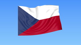 Waving flag of Czech Republic, seamless loop. Exact size, blue background. Part of all countries set. 4K ProRes. Flapping flag of Czech Republic, blue background vector illustration