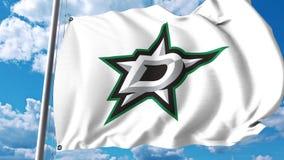 Waving flag with Dallas Stars NHL hockey team logo. 4K editorial clip. Waving flag with Dallas Stars NHL hockey team logo. 4K editorial animation royalty free illustration