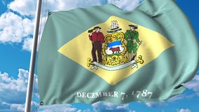 Waving flag of Delaware stock illustration