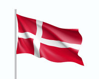 Waving flag of Denmark state. Illustration of European country flag on flagpole. Vector 3d icon isolated on white background Royalty Free Stock Photography