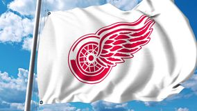 Waving flag with Detroit Red Wings NHL hockey team logo. 4K editorial clip. Waving flag with Detroit Red Wings NHL hockey team logo. 4K editorial animation vector illustration