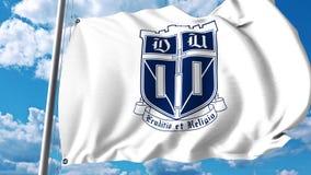 Waving flag with Duke University emblem. 4K editorial clip. Waving flag with Duke University emblem. 4K editorial animation stock video
