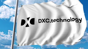 Waving flag with Dxc Technology logo. Editoial 3D rendering vector illustration