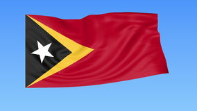 Waving flag of East Timor, seamless loop. Exact size, blue background. Part of all countries set. 4K ProRes with alpha. Flapping flag of East Timor, blue royalty free illustration