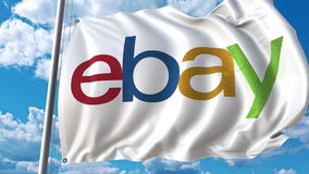 Waving flag with Ebay logo against sky and clouds. Editorial 3D rendering. Waving flag with Ebay logo against sky and clouds. Editorial 3D vector illustration