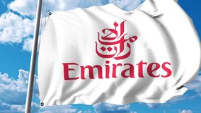 Waving flag with Emirates Airline logo. 4K editorial clip. Waving flag with Emirates Airline logo. 4K editorial animation stock video footage