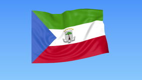 Waving flag of Equatorial Guinea, seamless loop. Exact size, blue background. Part of all countries set. 4K ProRes. Flapping flag of Equatorial Guinea, blue vector illustration