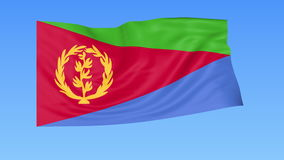 Waving flag of Eritrea, seamless loop. Exact size, blue background. Part of all countries set. 4K ProRes with alpha. Flapping flag of Eritrea, blue background stock illustration