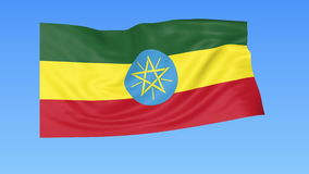 Waving flag of Ethiopia, seamless loop. Exact size, blue background. Part of all countries set. 4K ProRes with alpha. Flapping flag of Ethiopia, blue background stock illustration