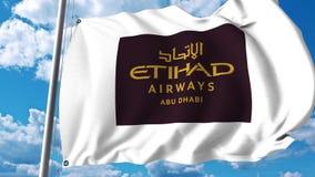Waving flag with Etihad Airways logo. 3D rendering. Waving flag with Etihad Airways logo vector illustration