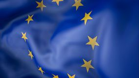 Waving flag European Union. Waving  European Union flag, tourism Stock Photo