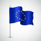 Waving Flag of the European Union. Vector illustration Stock Photo