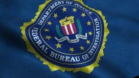 Waving flag with FBI logo