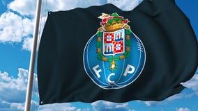 Waving flag with FC Porto football team logo. 4K editorial clip. Waving flag with FC Porto football team logo. 4K editorial animation stock illustration