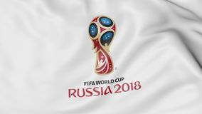 Waving flag with 2018 FIFA World Cup logo close-up. Editorial 3D rendering Royalty Free Stock Photo