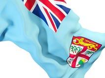 Waving flag of fiji. Closeup of waving flag of fiji. 3D illustration Stock Photos
