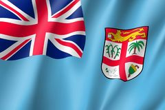 Waving flag of Fiji. Fiji national flag. Patriotic symbol in official country colors. Illustration of Oceania state flag. Vector realistic icon Stock Images