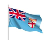 Waving flag of Fiji. Illustration of Oceania country flag on flagpole. Vector 3d icon isolated on white background Stock Photos