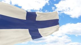 Waving flag of Finland on blue cloudy sky. Flag on the left Royalty Free Stock Image