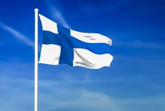Waving flag of Finland on the blue sky background. 3D rendered Royalty Free Stock Photo