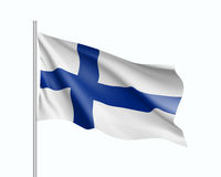 Waving flag of Finland state. Illustration of European country flag on flagpole. Vector 3d icon isolated on white background Royalty Free Stock Photography