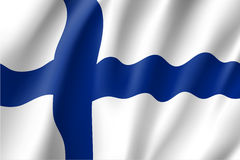 Waving flag of Finland. Vector illustration of 3D icon Stock Photos