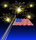Waving_flag_fireworks Royalty Free Stock Photos