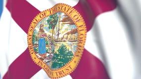 Waving flag of Florida. Close-up, loopable 3D animation. Waving flag of Florida. 3D stock video