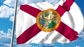 Waving flag of Florida stock illustration