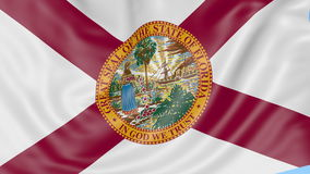 Waving flag of Florida state against blue sky. Seamless loop 4K clip. ProRes stock video