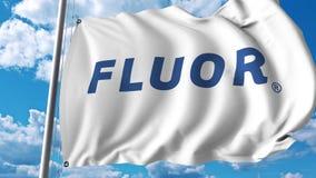 Waving flag with Fluor Corporation logo. 4K editorial animation