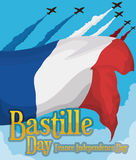 Waving Flag of France in Bastille Day Celebration with Planes, Vector Illustration Royalty Free Stock Images