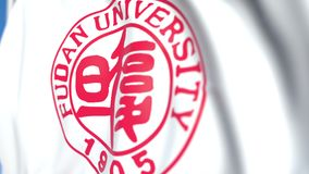 Flying flag with Fudan University emblem, close-up. Editorial loopable 3D animation. Waving flag with Fudan University emblem. Editorial 3D stock video footage