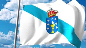 Waving flag of Galicia, an autonomous community in Spain. 3D rendering Royalty Free Stock Image