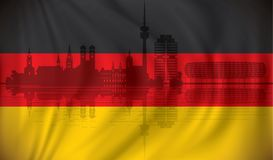 Flag of Germany with Munich skyline. Waving Flag of Germany with Munich skyline -  illustration Royalty Free Stock Photo