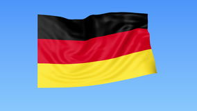 Waving flag of Germany, seamless loop. Exact size, blue background. Part of all countries set. 4K ProRes with alpha. Flapping flag of Germany, blue background royalty free illustration