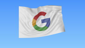 Waving flag with Google logo, seamless loop, blue background. Editorial animation. 4K ProRes, alpha. Flapping flag with Google logo, seamless looping against stock video