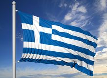 Waving flag of Greece on flagpole Stock Images