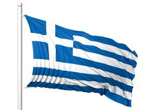 Waving flag of Greece on flagpole Royalty Free Stock Image