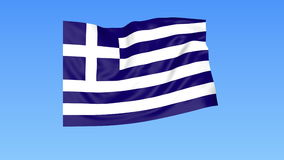Waving flag of Greece, seamless loop. Exact size, blue background. Part of all countries set. 4K ProRes with alpha. Flapping flag of Greece, blue background royalty free illustration