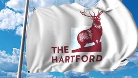 Waving flag with The Hartford logo. 4K editorial animation. Waving flag with The Hartford logo. 4K editorial clip vector illustration