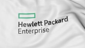 Waving flag with Hewlett Packard Enterprise logo. Editorial 3D rendering. Waving flag with Hewlett Packard Enterprise logo. Editorial 3D Royalty Free Stock Photos