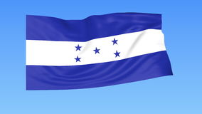 Waving flag of Honduras, seamless loop. Exact size, blue background. Part of all countries set. 4K ProRes with alpha. Flapping flag of Honduras, blue background vector illustration