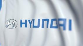Waving flag with Hyundai Motor Company logo, close-up. Editorial loopable 3D animation vector illustration
