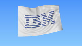 Waving flag with IBM logo, seamless loop, blue background. Editorial animation. 4K ProRes, alpha. Flapping flag with IBM logo, seamless looping against blue vector illustration